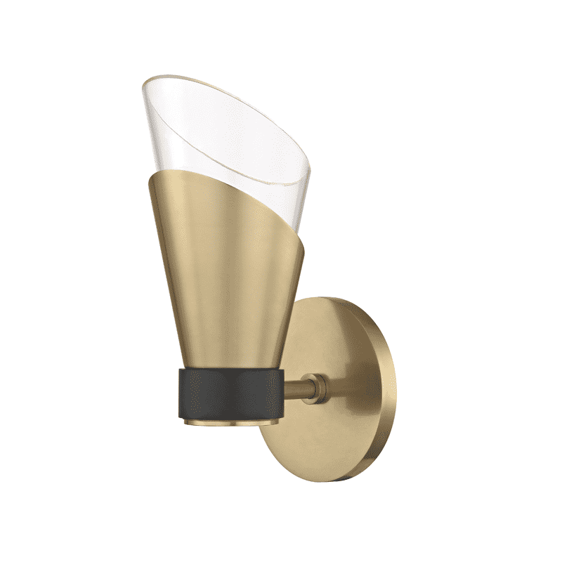Angie 1 Light Wall Sconce - Aged Brass/Black