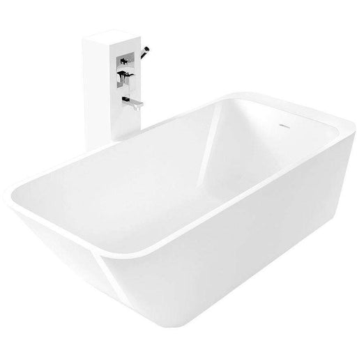 Rutger True Solid Surface Soaking Tub - Glossy White