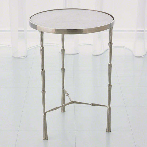 Nickel Spike Accent Table with White Marble