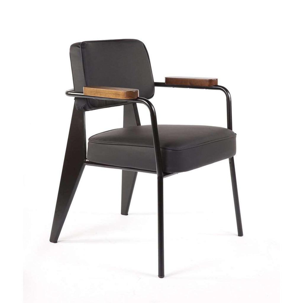 Mid Century Modern Reproduction Fauteuil Direction Arm Chair Black