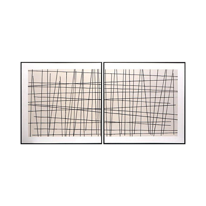 "Crosshatch (Set Of 2) - 48"" X 48"" - Black Floater Frame"