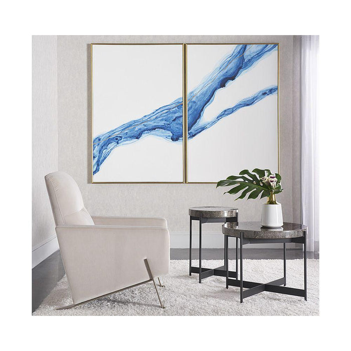 "Fluidity (Set Of 2) - 40"" X 60"" - Gold Floater Frame"