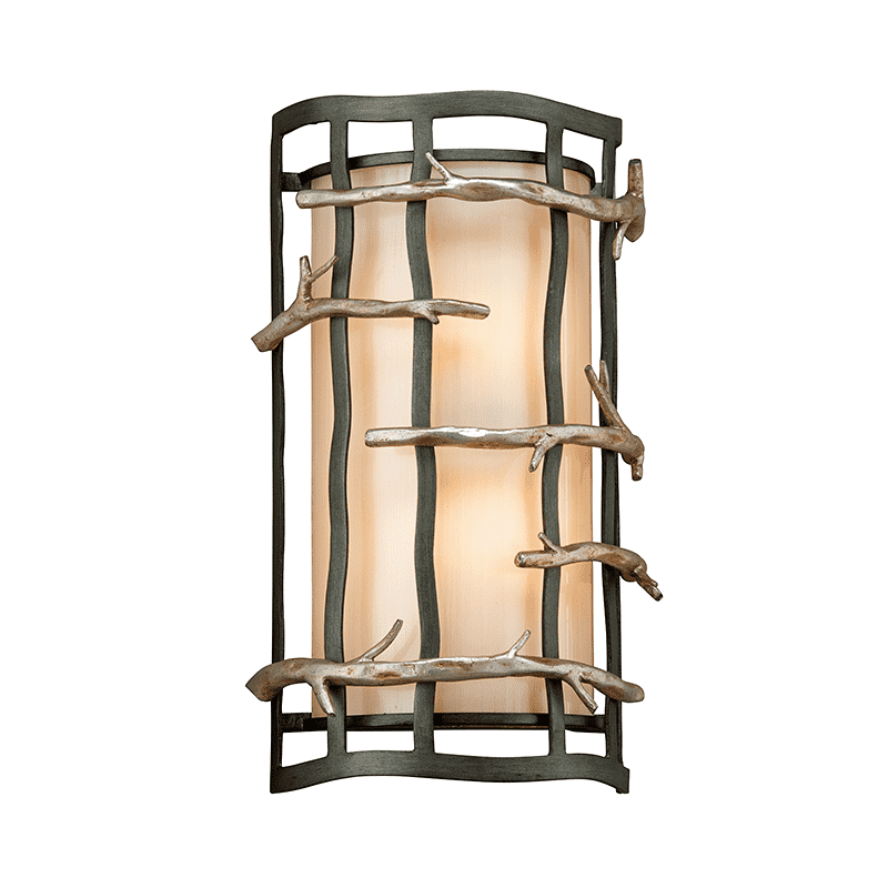 Adirondack 2Lt Wall Sconce Graphite And Silver Leaf