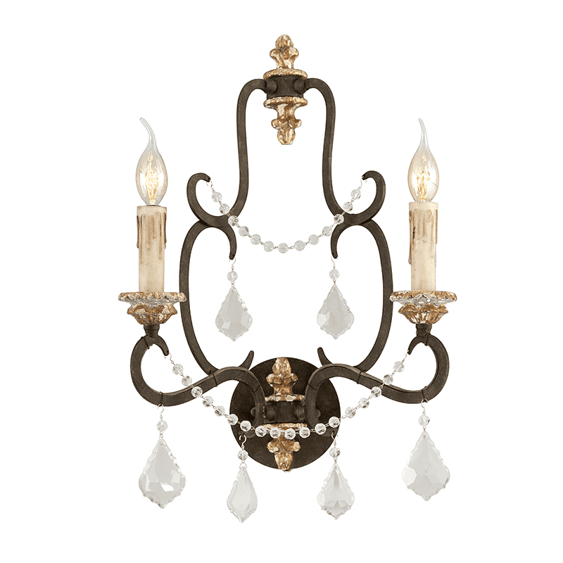 Bordeaux 2Lt Wall Sconce Parisian Bronze