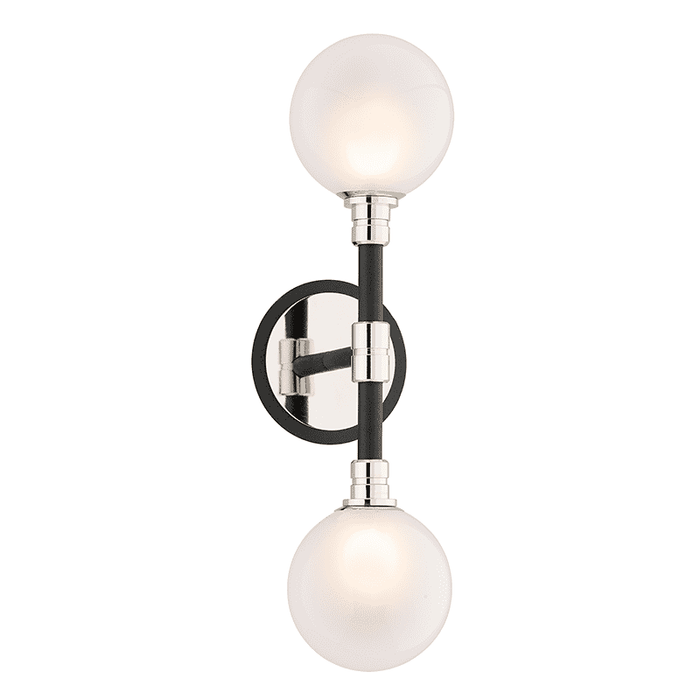 Andromeda 2Lt Wall Sconce Carbide Black And Polished Nickel