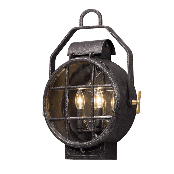 Point Lookout 2Lt Wall Lantern Medium Aged Silver W Pol Brass Accent