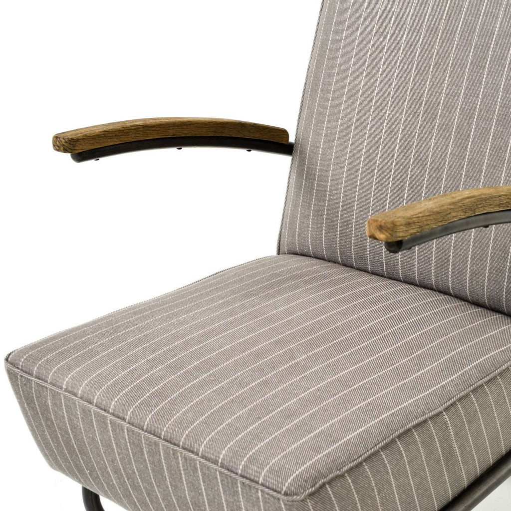 Miles Club Chair in Grey Stripe and Waxed Black