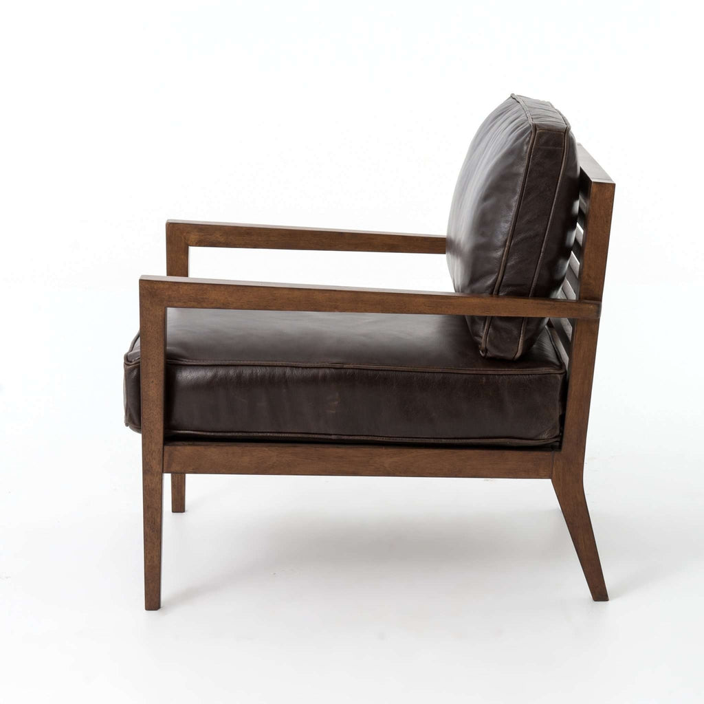 Laurent Wood Frame Accent Chair - Dark Brown Leather