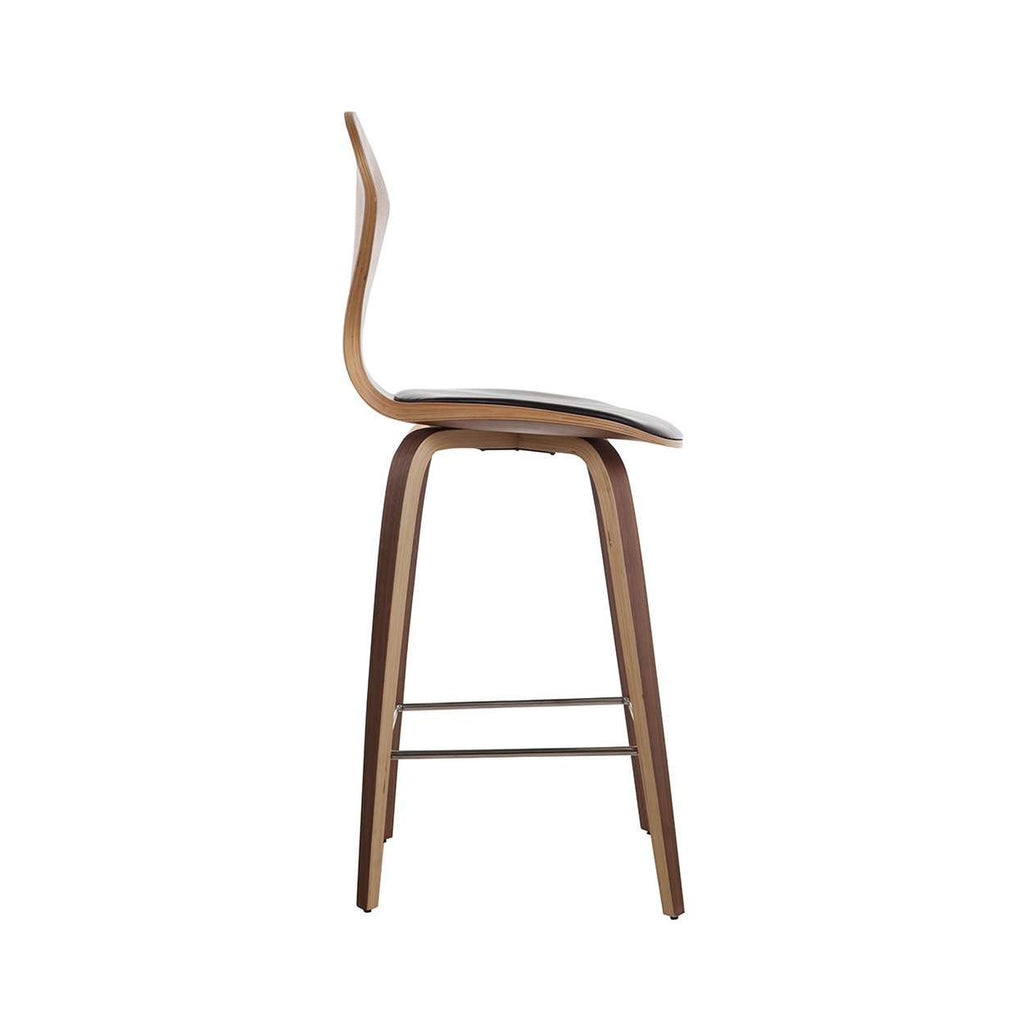 Chern Counter Stool Upholstered With Black Leather France Son