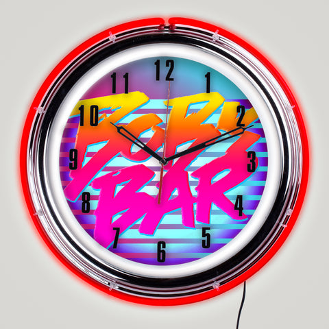 80's Retro Bar Neon Clock with Your Own Name
