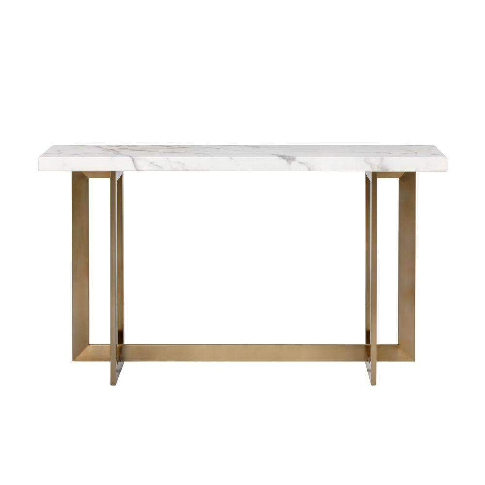 Rosellen Console Table Antique Brass Marble Look