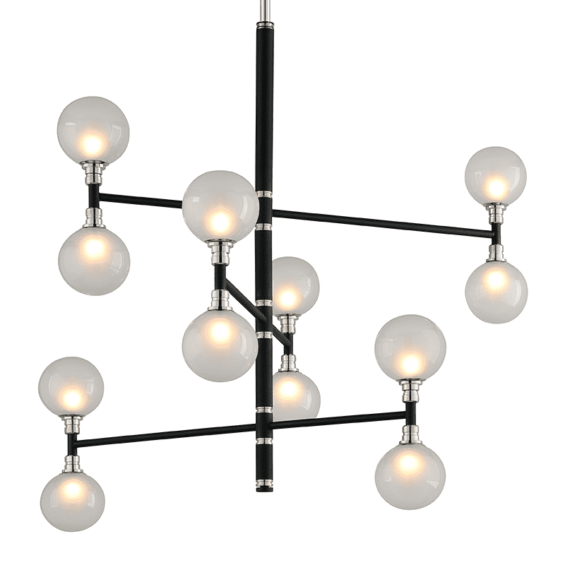 Andromeda 12Lt Chandelier 3 Tier Medium Carbide Black And Polished Nickel