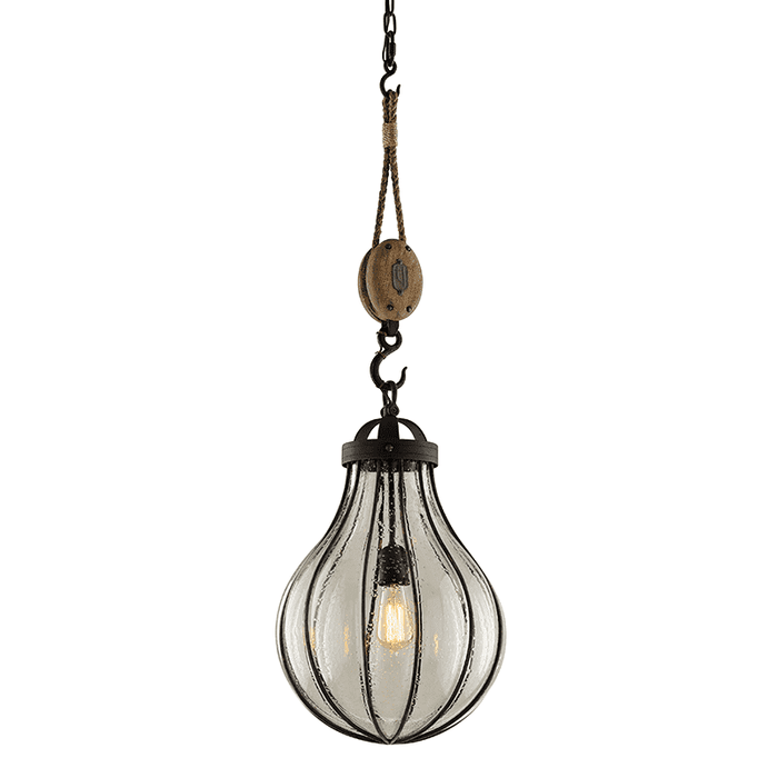 Murphy 1Lt Pendant Medium Vintage Iron W/ Manila Rope And Rustic Wood