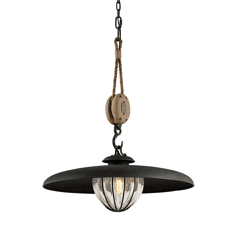 Murphy 1Lt Pendant With Shade Medium Vintage Iron W/ Manila Rope And Rustic Wood