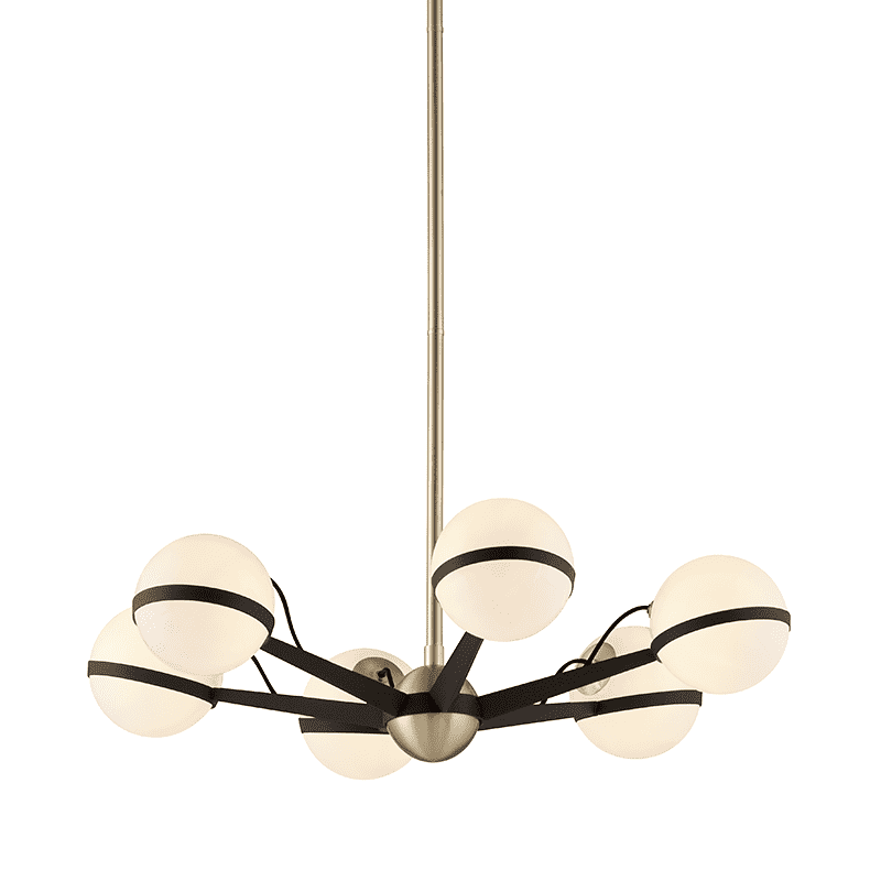 Ace 6Lt Chandelier Small Textured Bronze And Brushed Brass