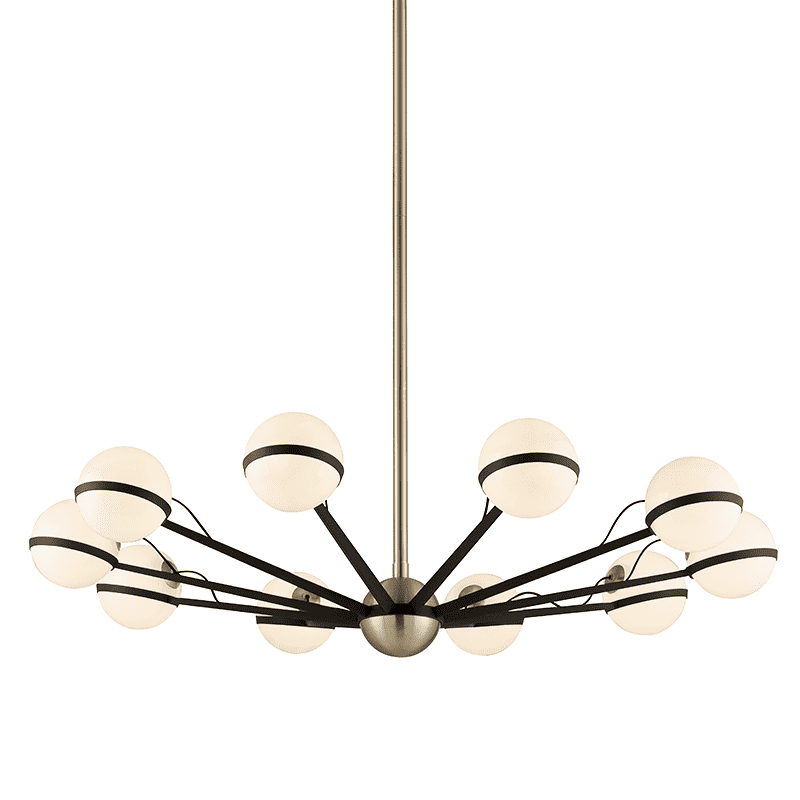 Ace 10Lt Chandelier Large Textured Bronze And Brushed Brass