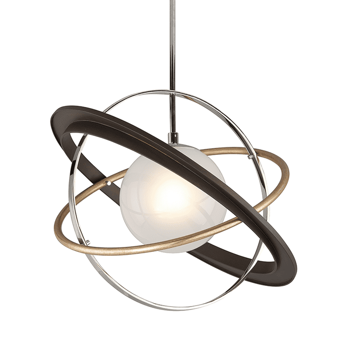 Apogee 1Lt Pendant Medium Bronze W/ Gold Leaf And Polished Stainless