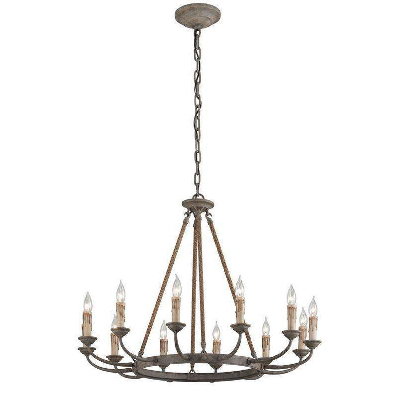 Cyrano 12Lt Chandelier Earthen Bronze