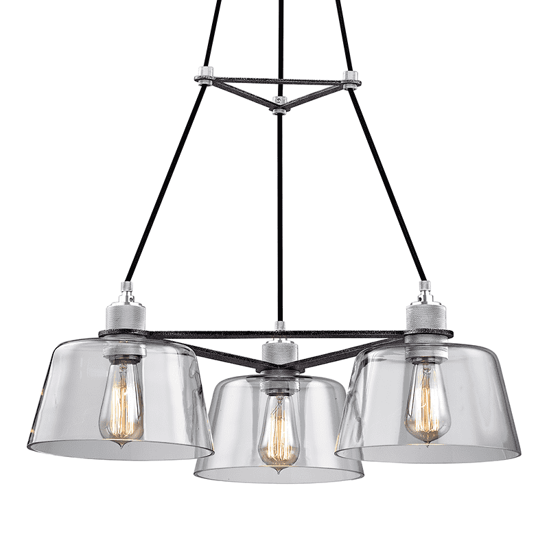 Audiophile 3Lt Chandelier Old Silver And Polished Aluminum