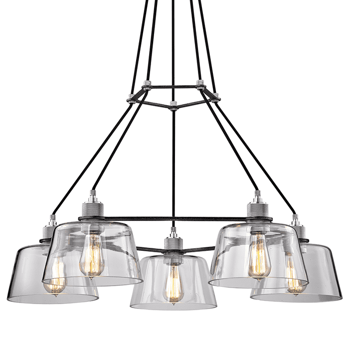 Audiophile 5Lt Chandelier Old Silver And Polished Aluminum