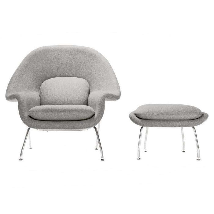 Mid Century Womb Chair and Ottoman - Grey