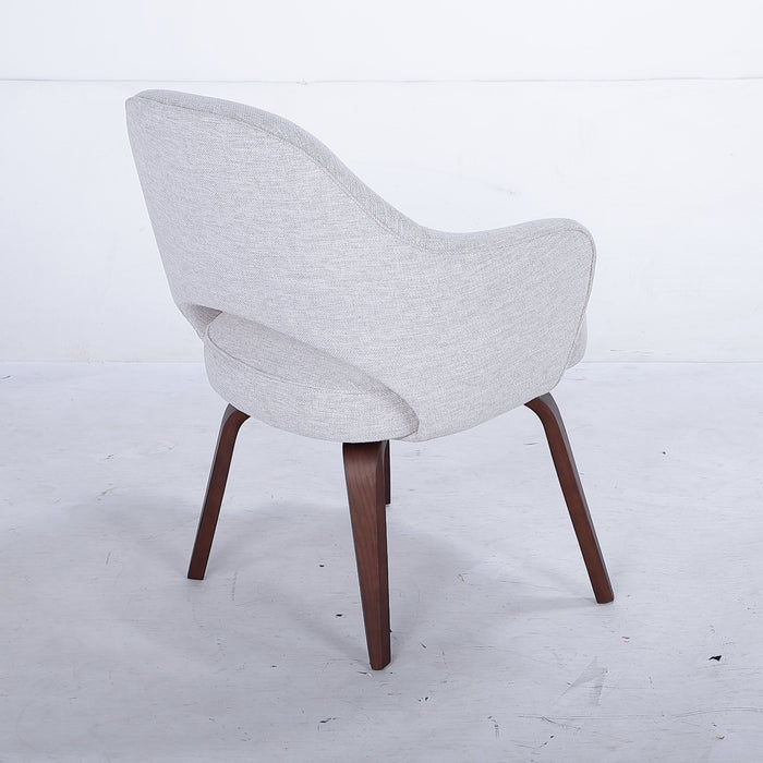 Executive Armchair with Wood Legs - Grey