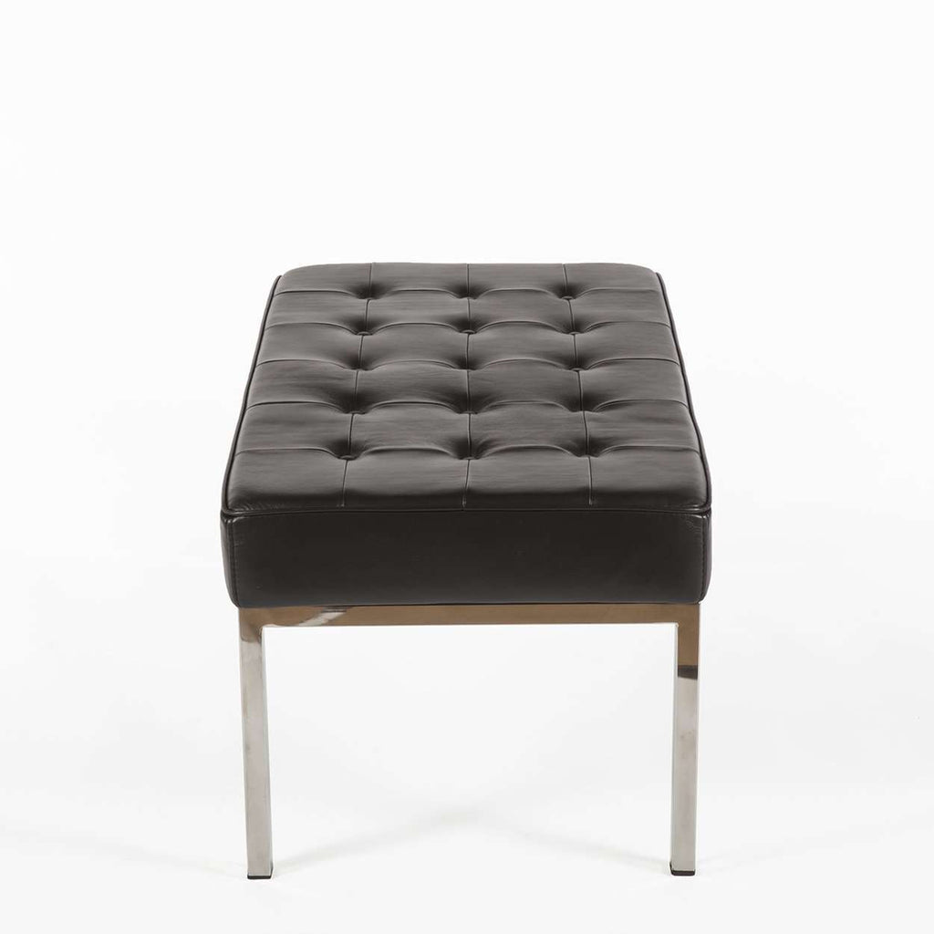 Mid Century Tufted Bench - Black Leather [staff pick]