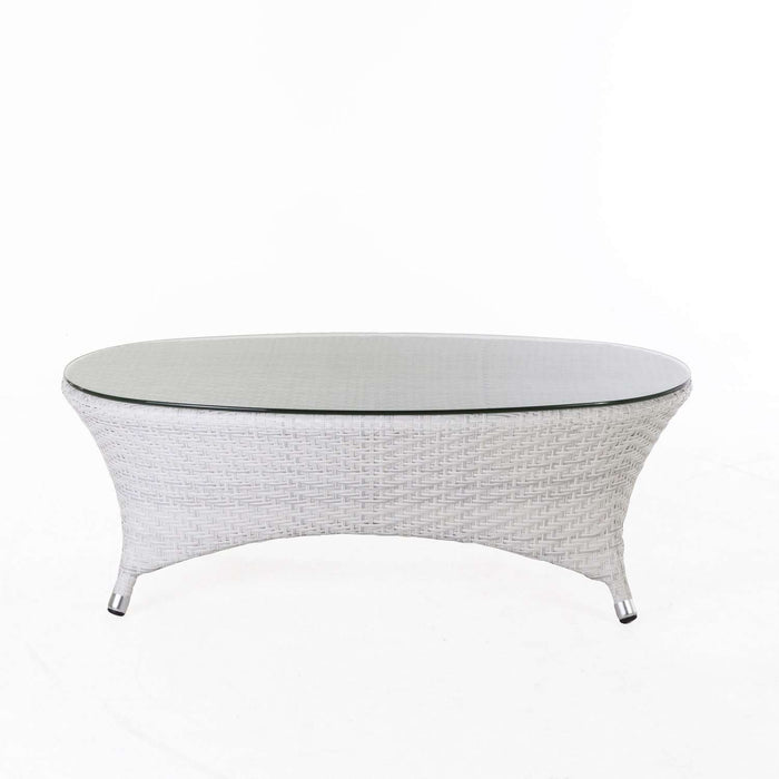 Modern Darcy Outdoor Coffee Table with Glass Top