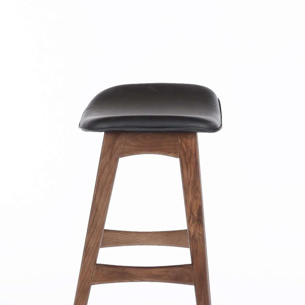 Dacia Counter Stool - Black Leather