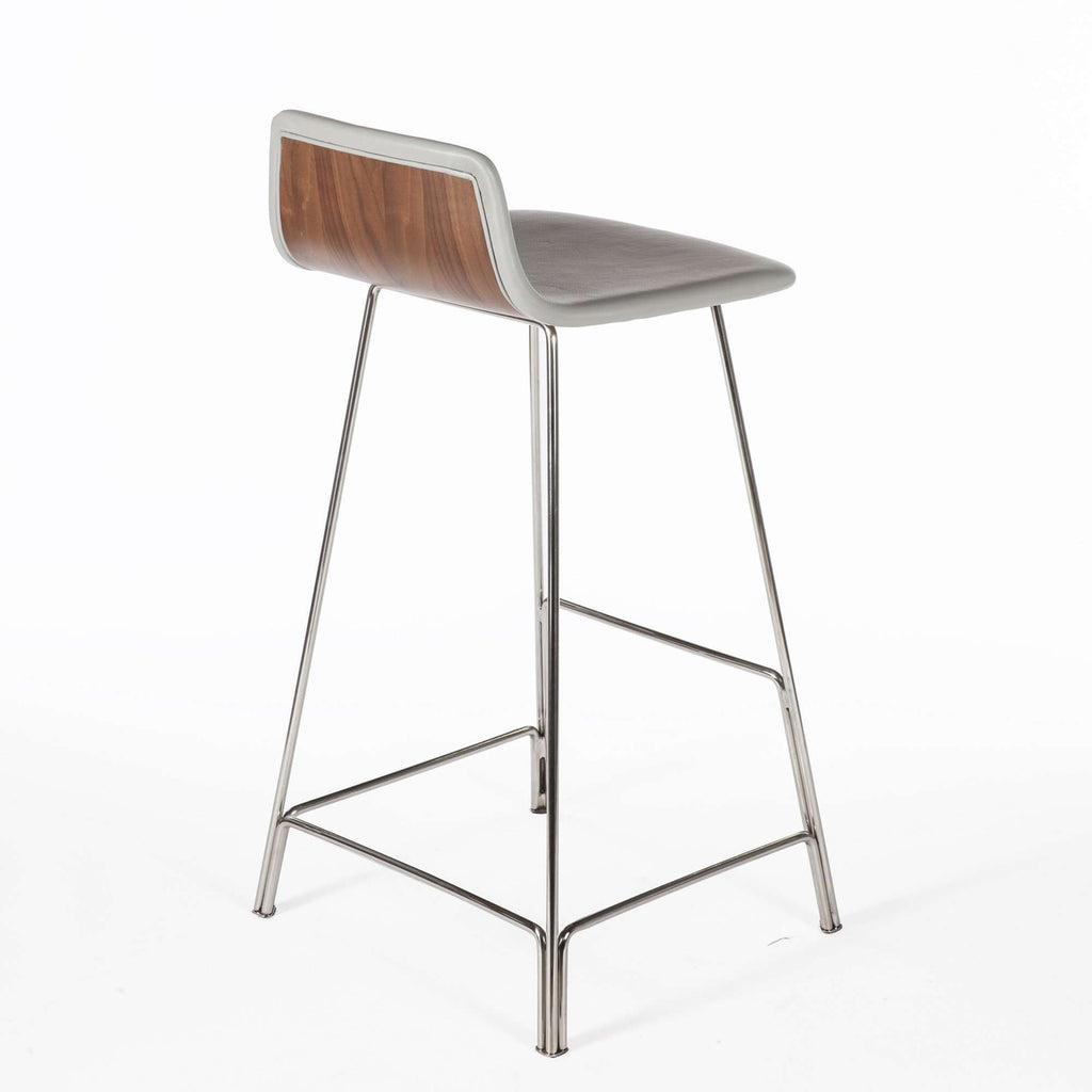 Sean Dix Rod Bar Stool - Grey Leather and Walnut