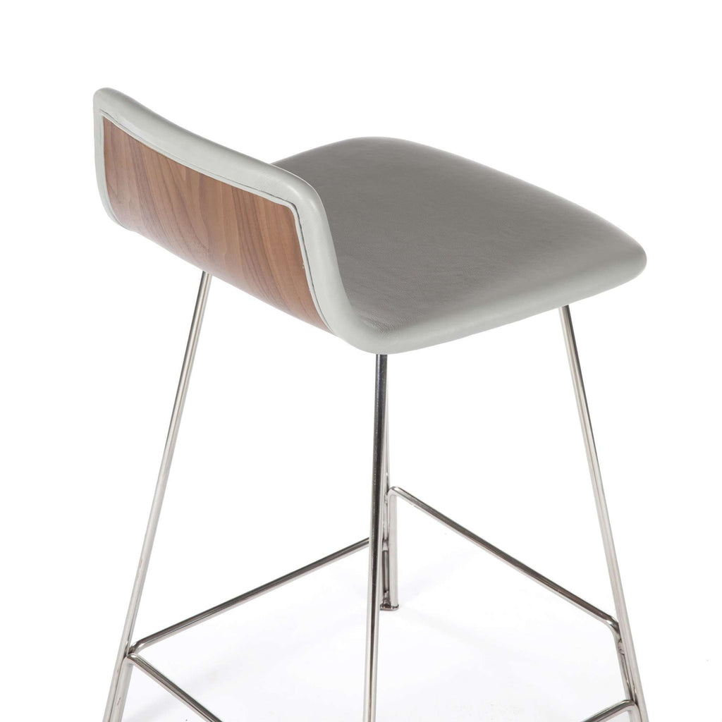 Sean Dix Rod Counter Stool - Grey Leather and Walnut