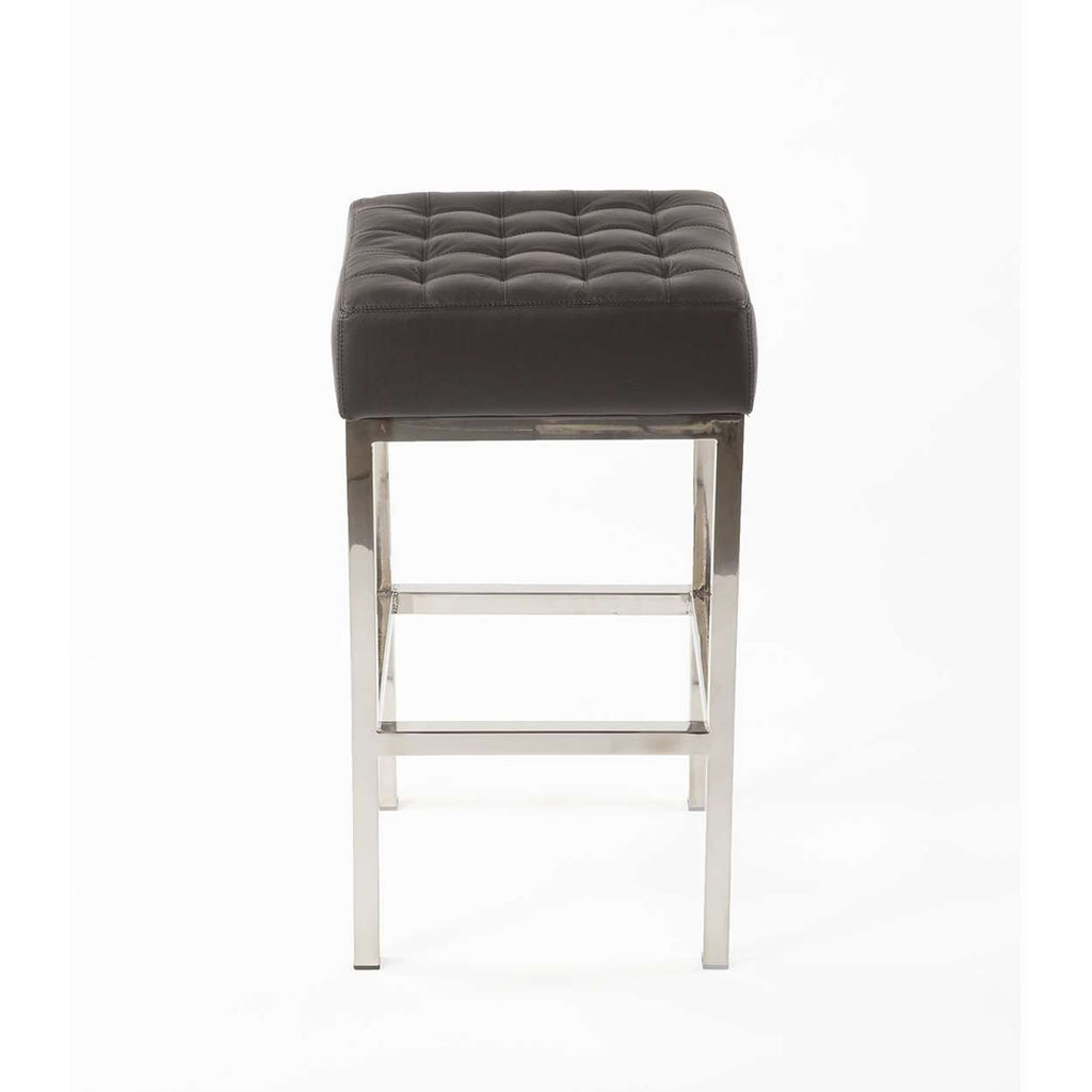 Custom Vadso Mid Century Tufted Counter Stool with Black Leather