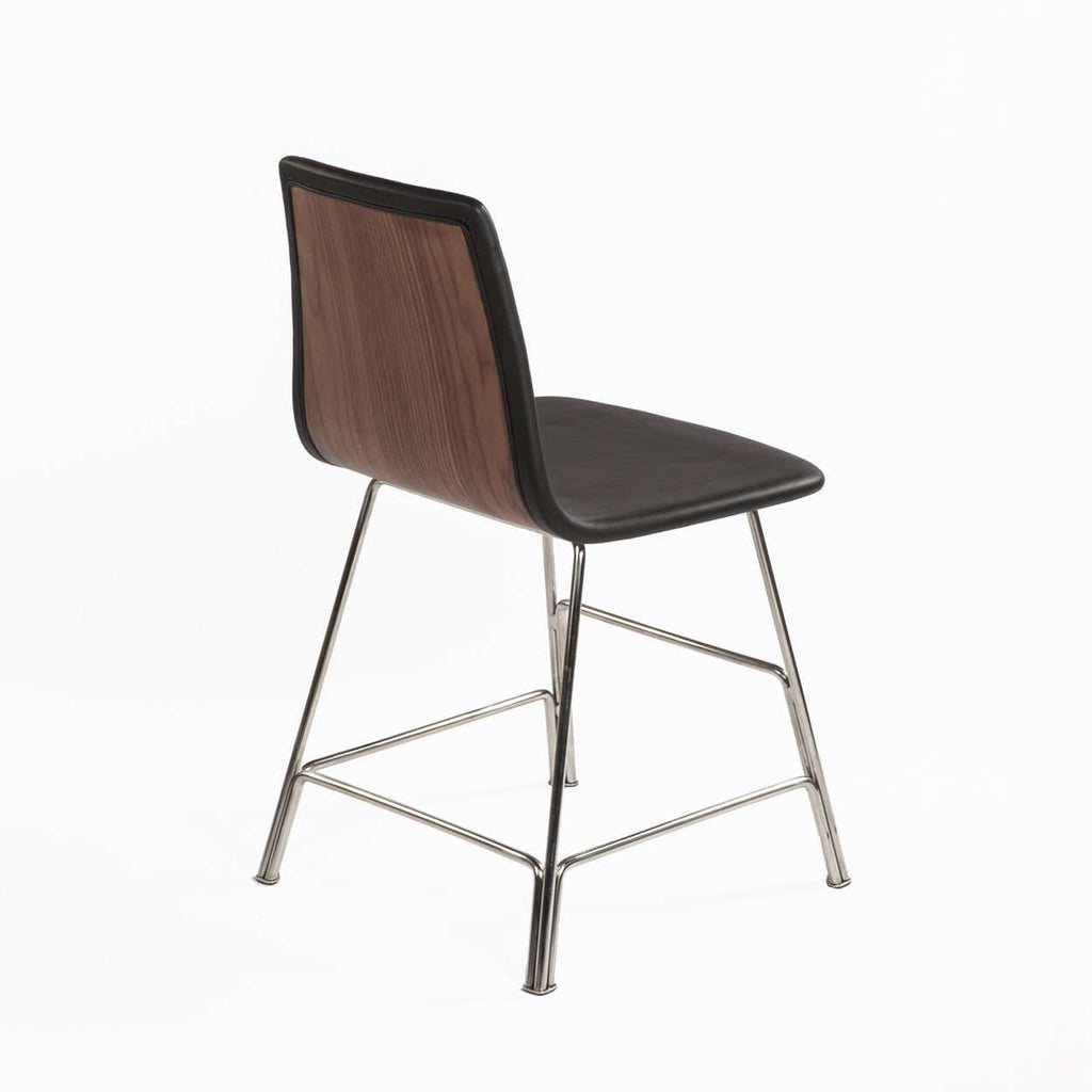Mid Century Rod Side Chair - Black Leather