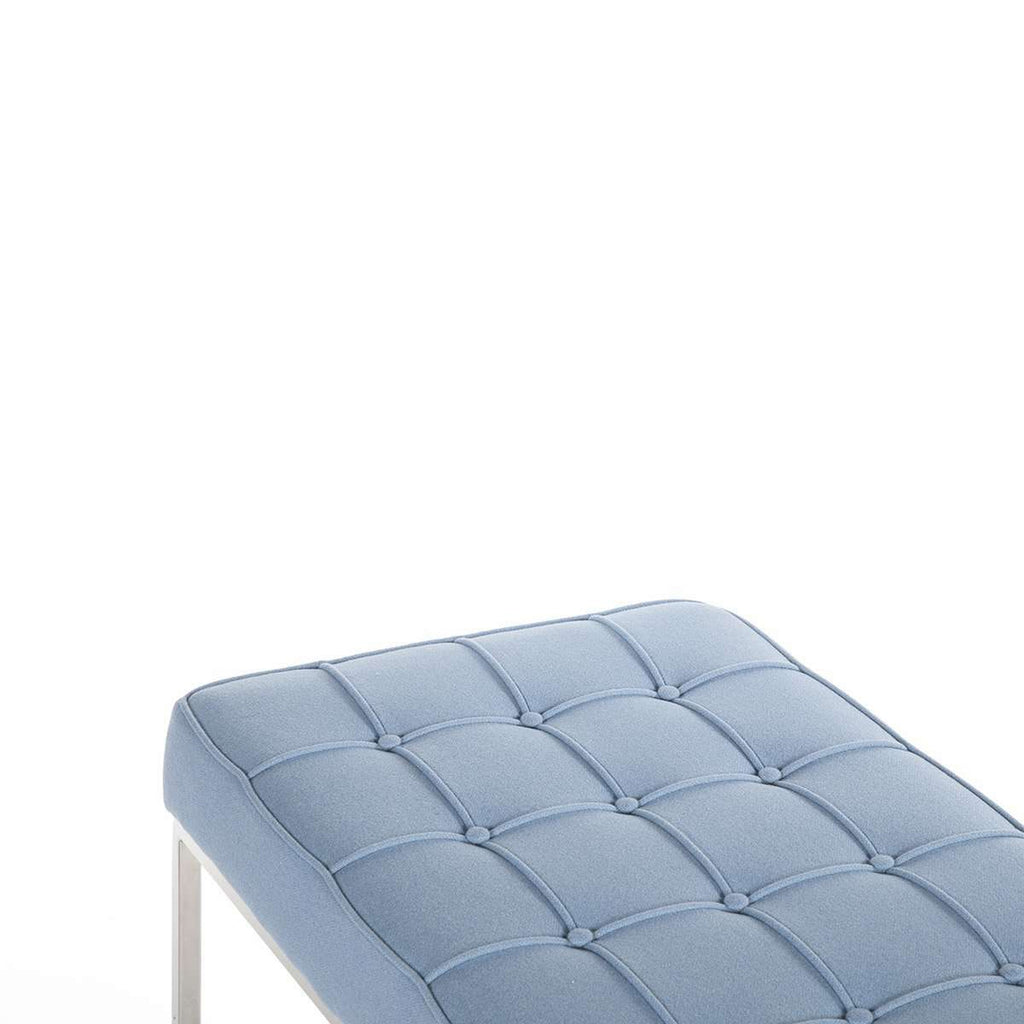 Mid Century Tufted Bench - Blue Wool