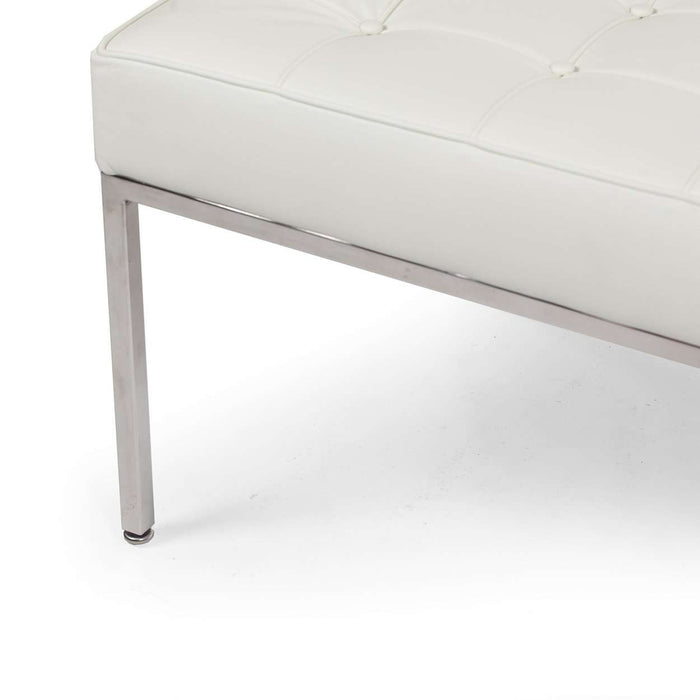 Mid Century Tufted Bench - White Leather