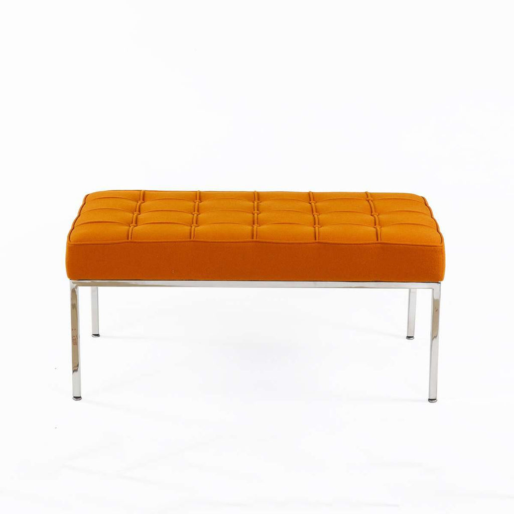 Mid Century Tufted Bench - Orange Wool  [staff pick]  free local shipping only****