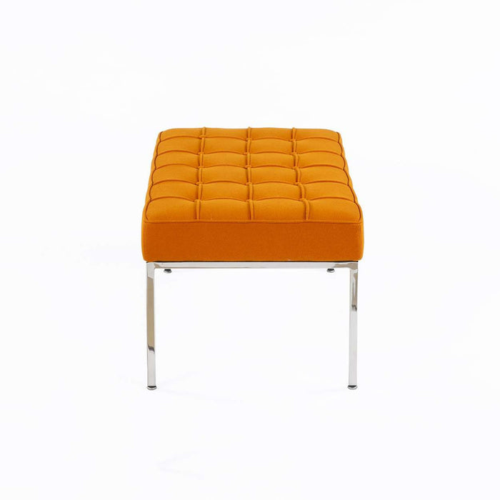 Mid Century Tufted Bench - Orange Wool