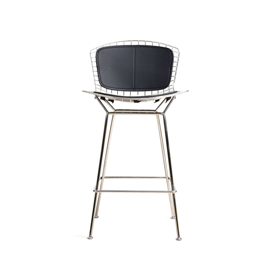 Bertoia Bar Stool - Stainless Steel and Leather Pad