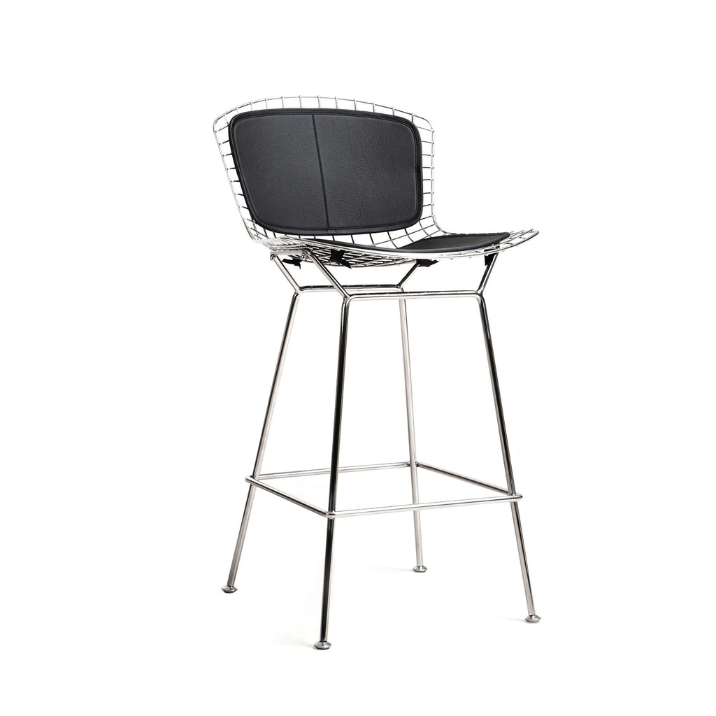 Custom Bertoia Bar Stool - Polished Stainless Steel Frame and Black Leather Pad