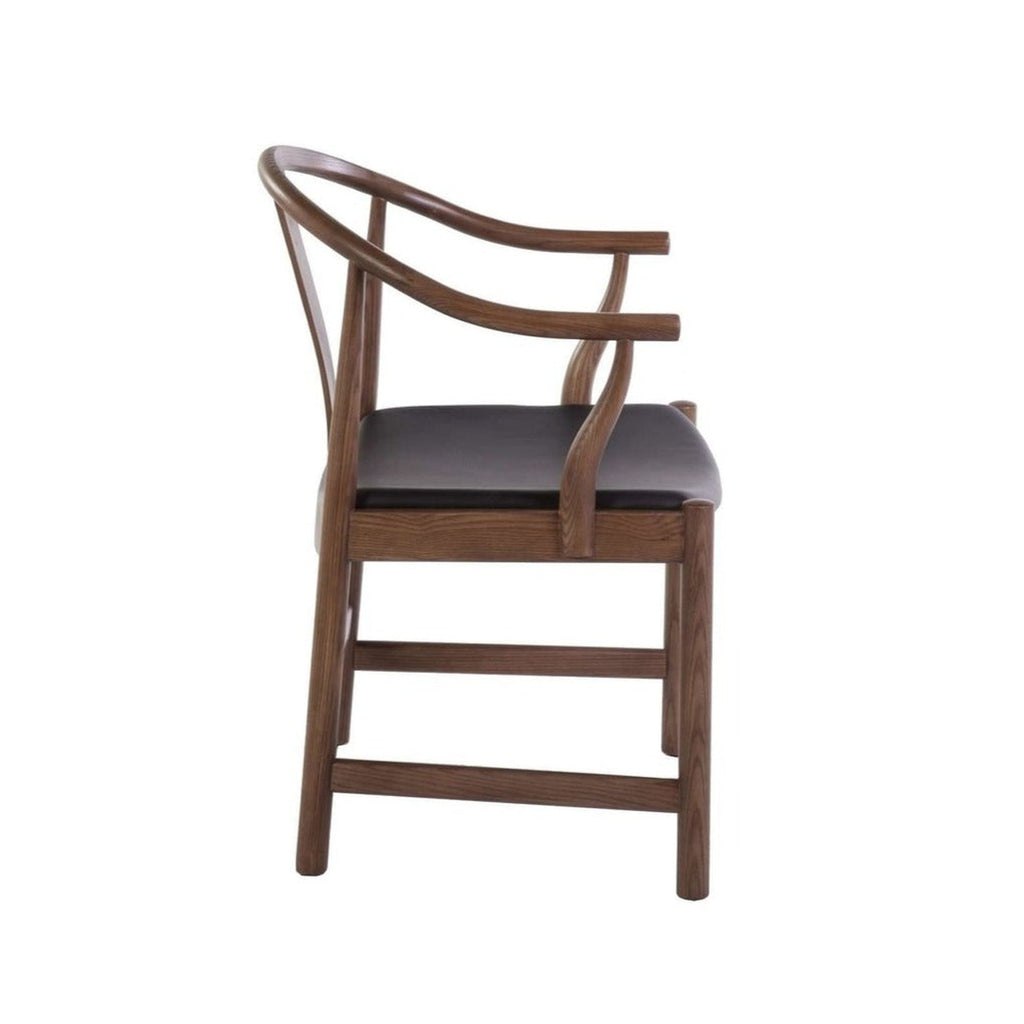 Mid Century Wegner China Chair - Black Leather