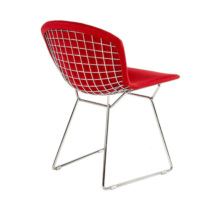 Bertoia Side Chair - Polished Stainless and Red Upholstery