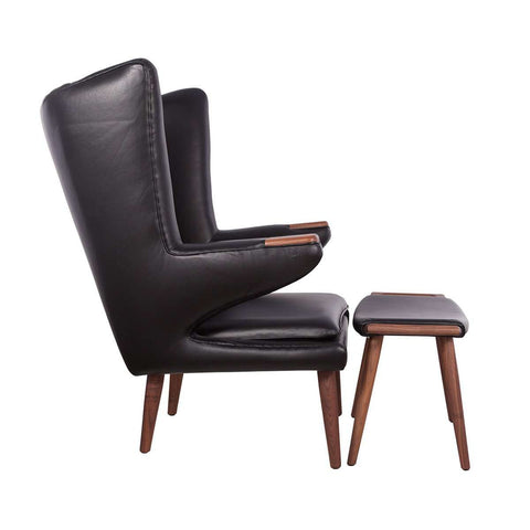 PP19 Papa Bear Chair and Ottoman - Black Leather