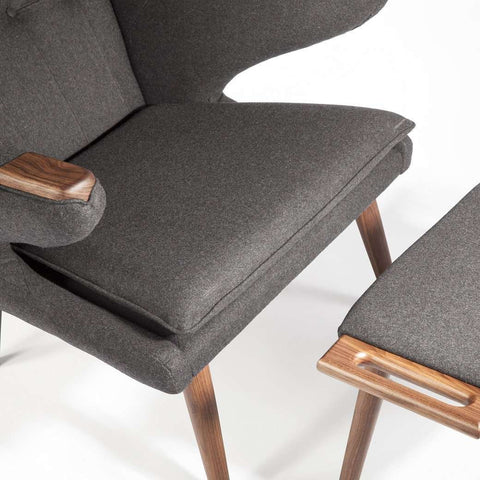 PP19 Papa Bear Chair and Ottoman - Dark Grey