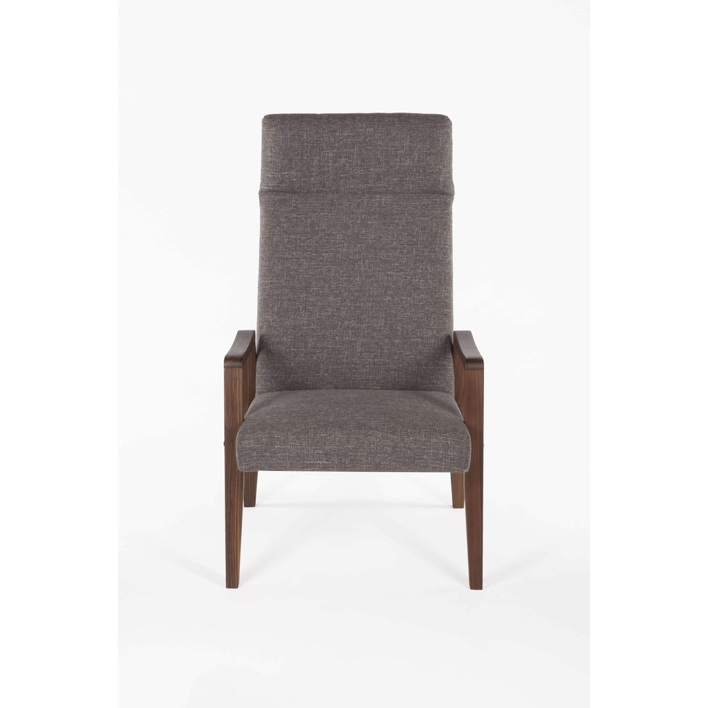 Mid Century Solid Walnut Lounge Chair - Grey