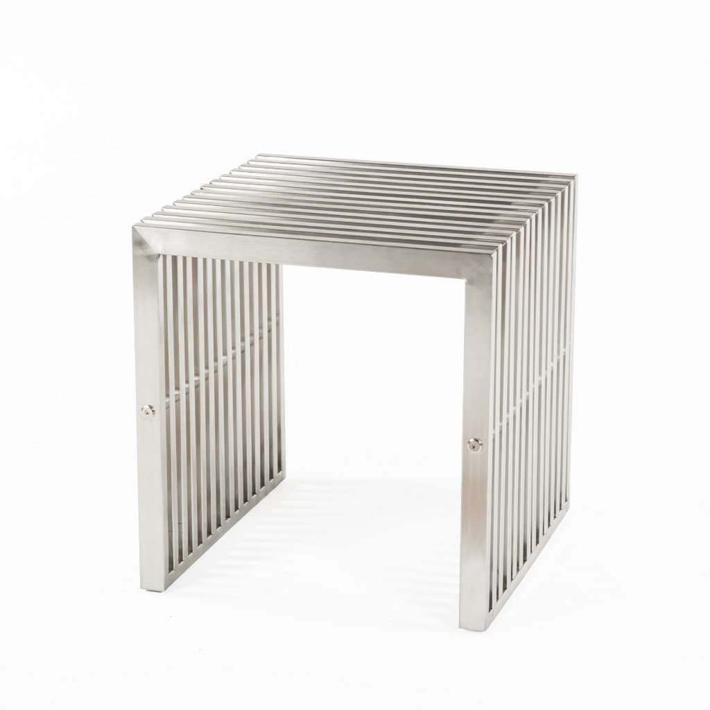 Delano Grid Stool - Brushed Silver