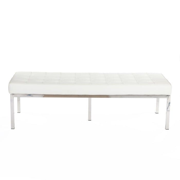 Mid Century Tufted Leather Bench - Cream White