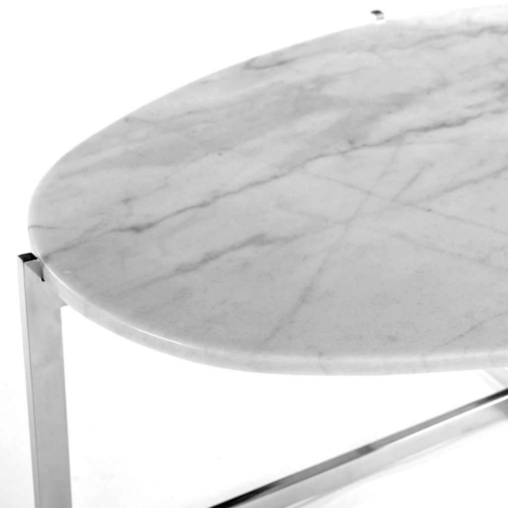 Modern Cantilevered Marble Coffee Table - Oval