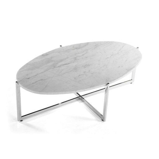 Cantilevered Marble Coffee Table - Oval