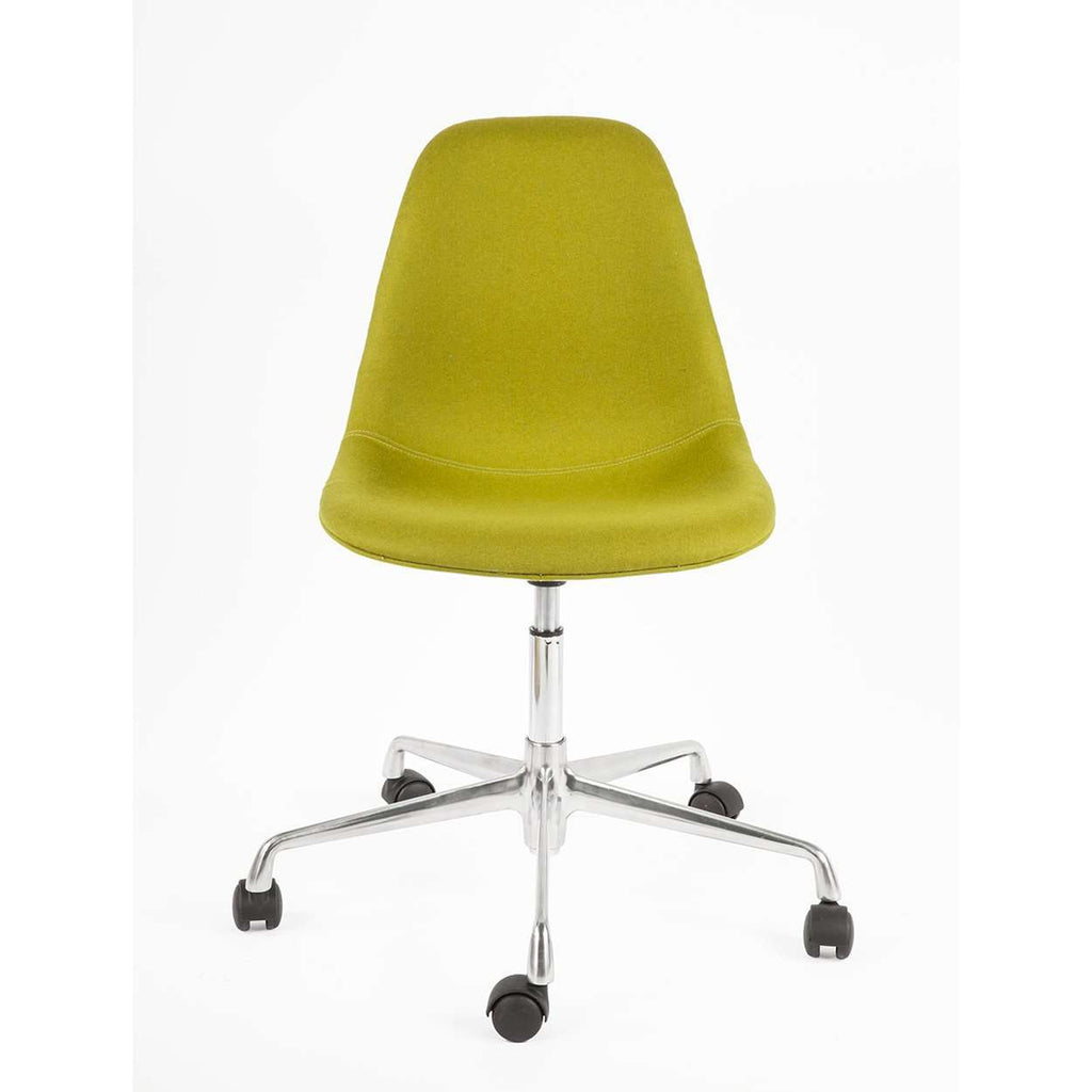 Custom Mid Century Shell Chair with Rolling Caster Base - Olive
