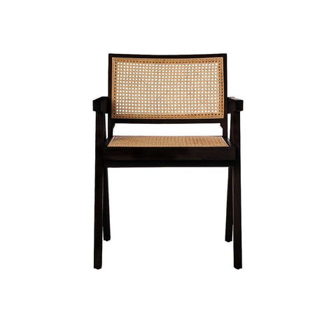 Mid Century Hand Cane Jeanneret Armchair - Black